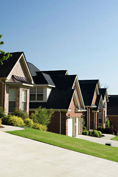 Suburbs Photograph - A Row Of Homes In A Residential by Wesley Hitt