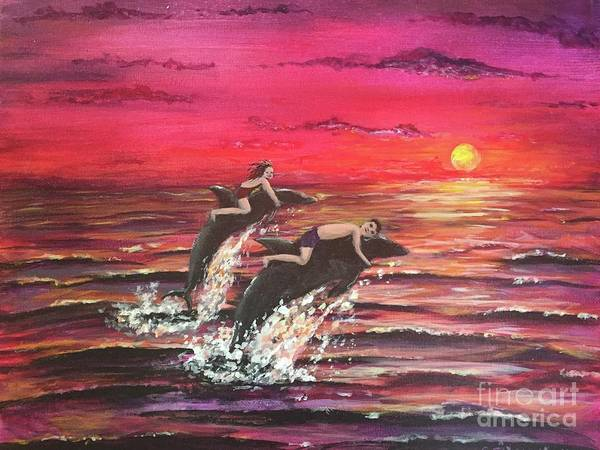 Wall Art - Painting - A Sunset Ride by Rosie Kuhn