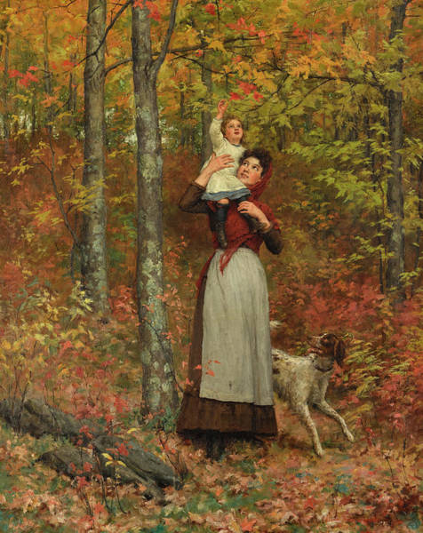 Wall Art - Painting - A Walk In The Woods by Jennie Augusta Brownscombe