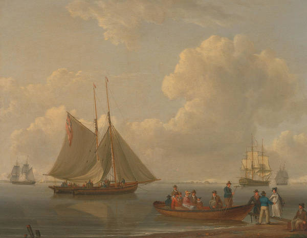 Painting - A Wherry Taking Passengers Out To Two Anchored Packets by William Anderson
