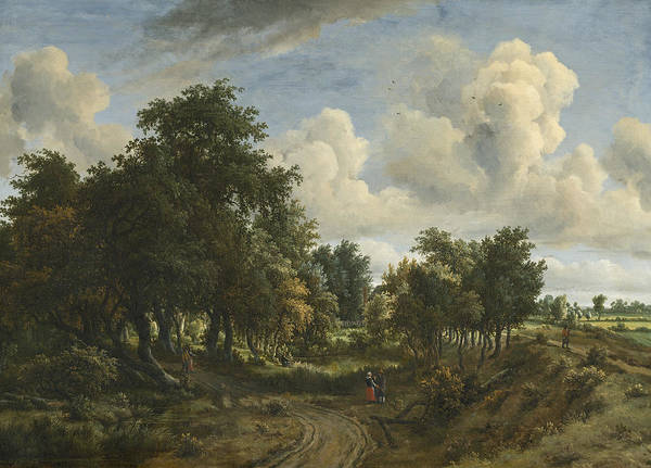 Meindert Hobbema Painting - A Wooded Landscape, 1663 by Meindert Hobbema