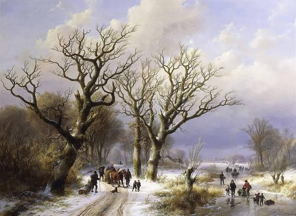 Eugene Joseph Verboeckhoven Painting - A Wooded Winter Landscape With Figures  by Eugene Joseph Verboeckhoven and Johann Bernard Klombeck