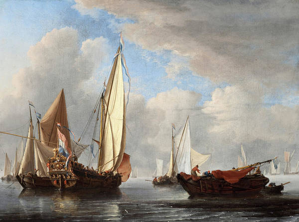 Wall Art - Painting - A Yacht And Other Vessels In A Calm by Willem van de Velde the Younger