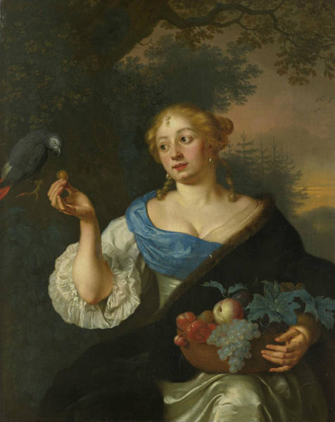Wall Art - Painting - A Young Woman With A Parrot by Ary de Vois