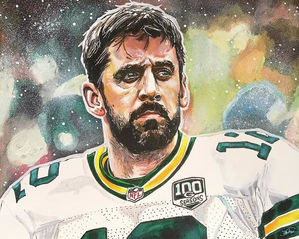 Painting - Aaron Rodgers by Joel Tesch