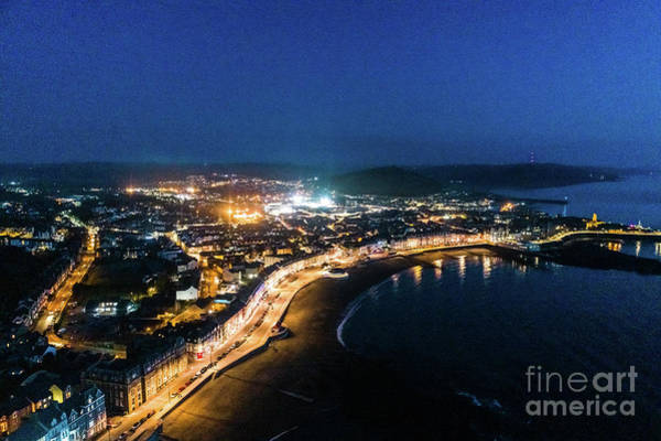 Photograph - Aberystwyth At Night From The Air by Keith Morris