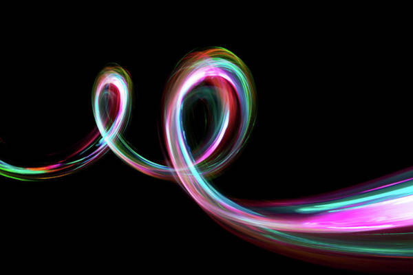 Multi Exposure Photograph - Abstract Coloured Light Energy Motion by John Rensten