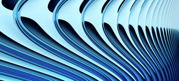 Horizontal Abstract Digital Art - Abstract Curved Lines, Diminishing by Ralf Hiemisch