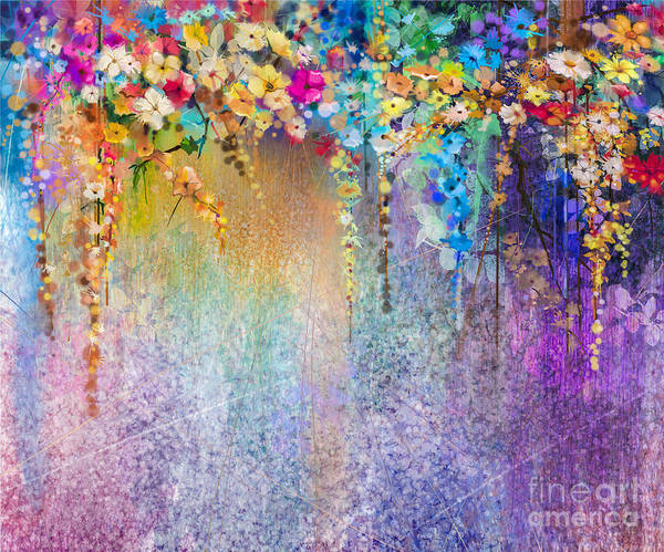 Vines Wall Art - Digital Art - Abstract Floral Watercolor Painting by Pluie r