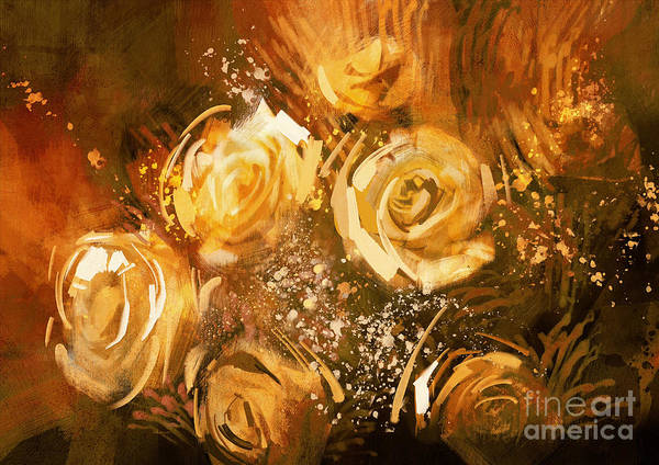 Gold Leaves Digital Art - Abstract Flowers Vintage Style,digital by Tithi Luadthong