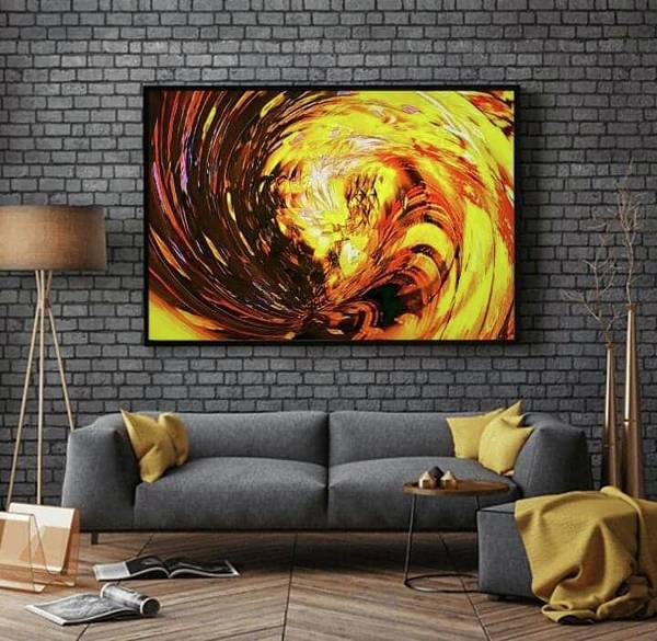 Digital Art - Abstract Gold Swirl by Swedish Attitude Design