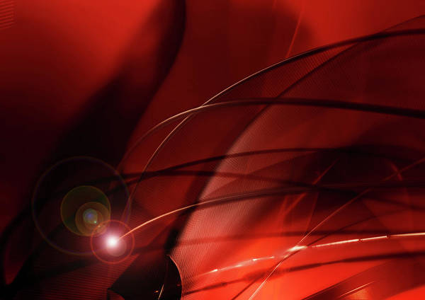 Spooky Digital Art - Abstract Image Of Red Cables And Lights by Aeriform