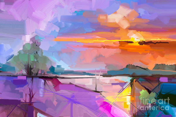 Wall Art - Digital Art - Abstract Oil Painting Landscape by Pluie r