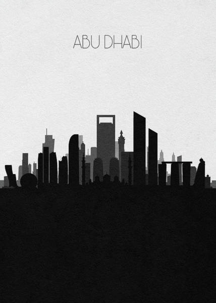 Wall Art - Digital Art - Abu Dhabi Cityscape Art V2 by Inspirowl Design