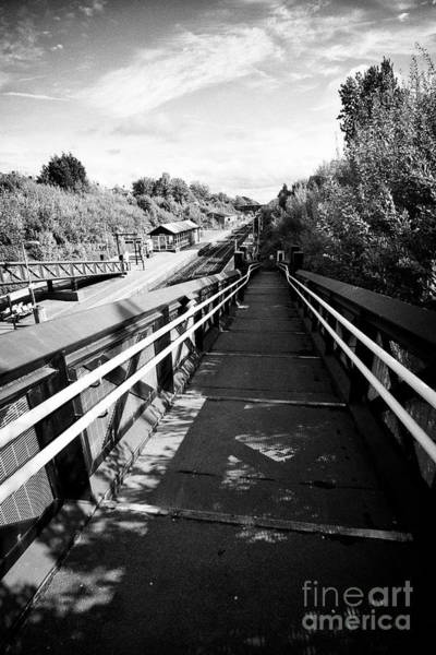Wall Art - Photograph - access ramp down to hunts cross train railway station Liverpool Merseyside England UK by Joe Fox