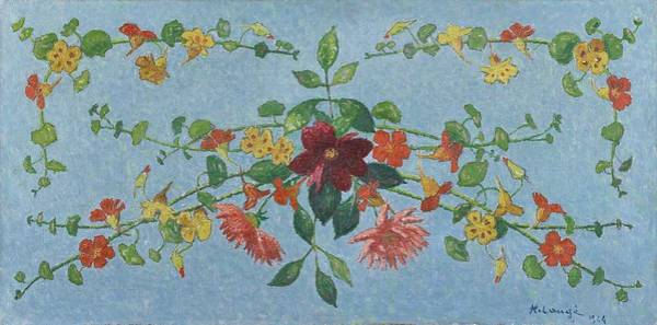 Wall Art - Painting - Achille Lauge 1861   1944 Flower Composition  Capucines And Dahlias by Celestial Images