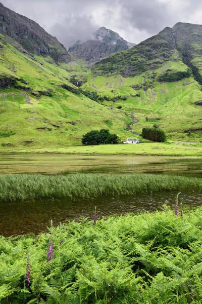 Bidean Nam Bian Photograph - Achnambeithach Cottage On Loch Achtriochtan Under Aonach Dubh Wa by Reimar Gaertner
