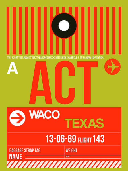 Wall Art - Digital Art -   Act Waco Luggage Tag I by Naxart Studio