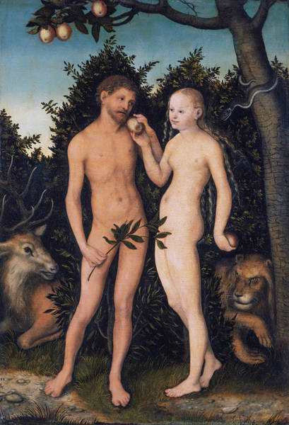 The Creation Of Adam Wall Art - Painting - Adam And Eve In Paradise - The Fall by Lucas Cranach the Elder