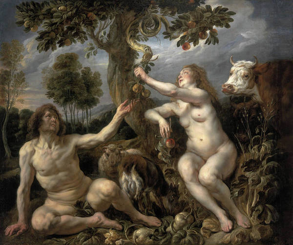 Creationism Wall Art - Painting - Adam And Eve by Jacob Jordaens