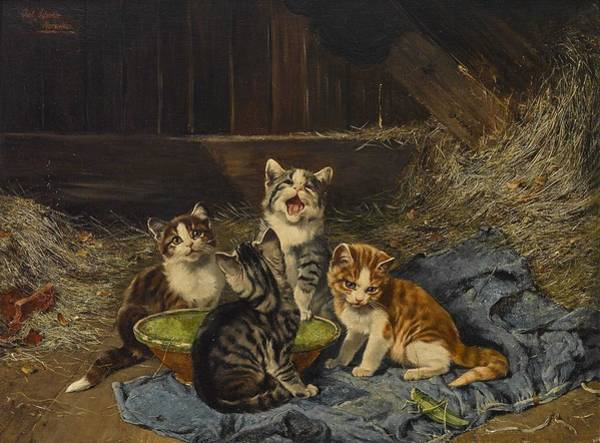 Wall Art - Painting - Adam D. J Julius 1852 Munich - 1913   Four Kittens With Grasshopper In The Stable by Celestial Images