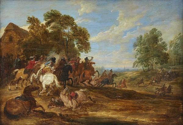 Wall Art - Painting - Adam Frans Van Der Meulen Brussels 1632-1690 Paris Battle Scene by Celestial Images