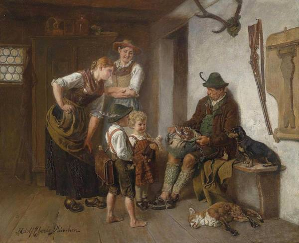 Wall Art - Painting - Adolf Eberle - Homecoming Of The Hunter by Celestial Images