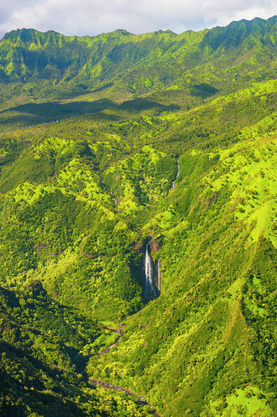 Wall Art - Photograph - Aerial Of A Waterfall In The Interior Of Kauai Hawaii Usa by imageBROKER - Michael Runkel