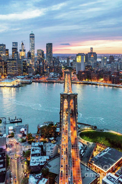 Wall Art - Photograph - Aerial Of New York City  And Brooklyn Bridge At Dusk by Matteo Colombo