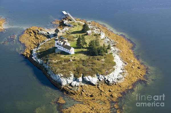 Wall Art - Photograph - Aerial View Of An Island And Lighthouse by Joseph Sohm