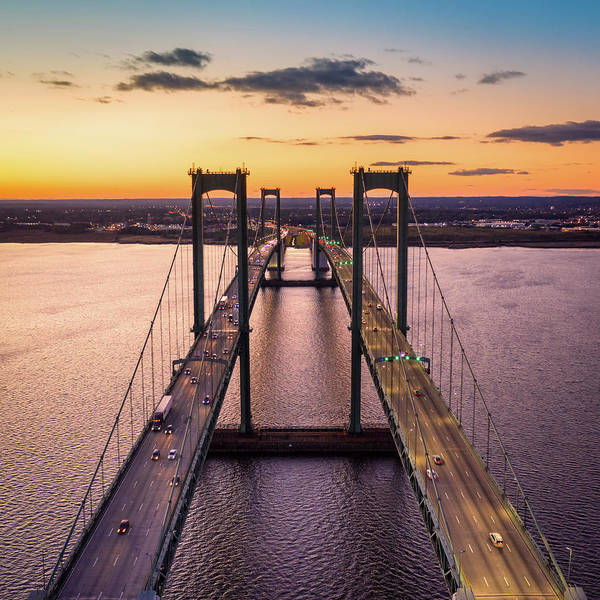 Photograph - Aerial View Of Delaware Memorial Bridge At Dusk. by Mihai Andritoiu