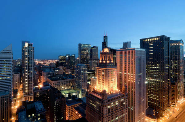 Skyline Drive Photograph - Aerial View Of The Chicago Loop At Dusk by Chrisp0