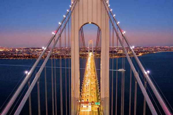 Photograph - Aerial View Of Verrazzano Narrows Bridge by Mihai Andritoiu