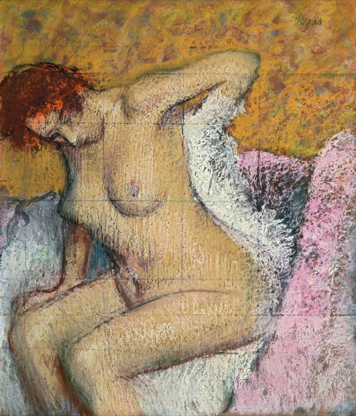 Wall Art - Painting - After Bath by Edgar Degas