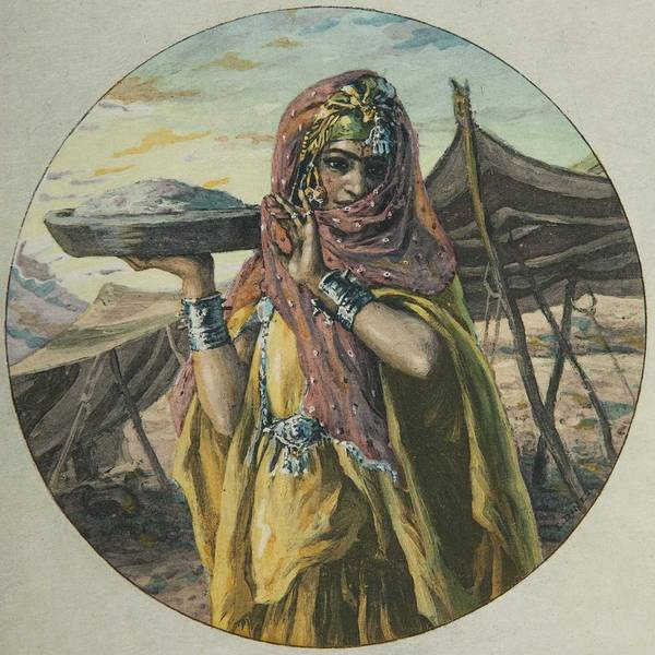 Wall Art - Painting - After Etienne Alphonse Dinet. Oriental Carrying A Tray by Celestial Images