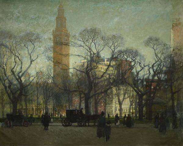 Wall Art - Painting - Afternoon Madison Square ,  Paul Cornoyer  American  1864 - 1923  by Celestial Images