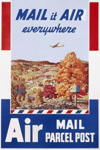 Wall Art - Painting - Air Mail Parcel Post Poster  by Melbourne Brindle