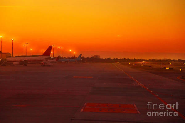Photograph - Airport Runway At Sunset by Benny Marty