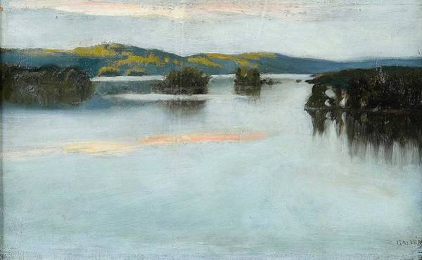 Wall Art - Painting - Akseli Gallen-kallela, Evening Dusk Over The Lake. by Celestial Images