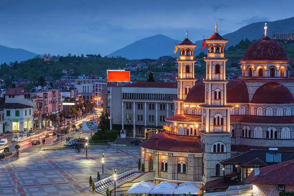 Town Square Wall Art - Photograph - Albania, Korca by Walter Bibikow