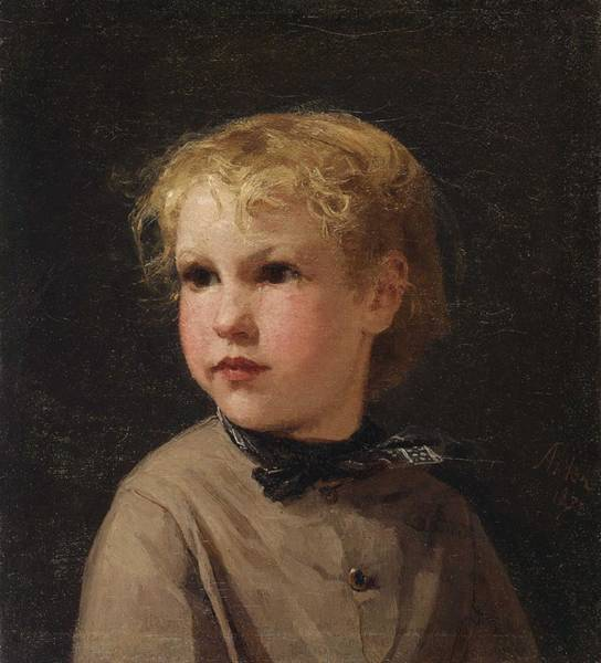 Wall Art - Painting - Albert Anker  1831-1910  Portrait Of A Girl, 1872 by Celestial Images