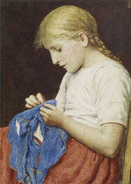 Wall Art - Painting - Albert Anker  1831-1910  The Little Seamstress, by Celestial Images