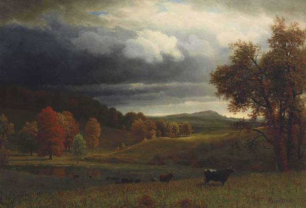 Wall Art - Painting - Albert Bierstadt  1830-1902 Autumn Landscape, The Catskills by Celestial Images