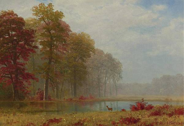 Wall Art - Painting - Albert Bierstadt 1830-1902 Autumn On The River by Celestial Images