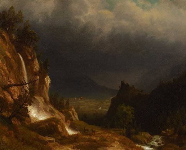 Wall Art - Painting - Albert Bierstadt  1830-1902 Evening In The Mountains  1888  by Celestial Images
