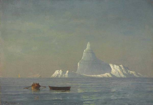 Wall Art - Painting - Albert Bierstadt  1830-1902  Icebergs  1883 by Celestial Images