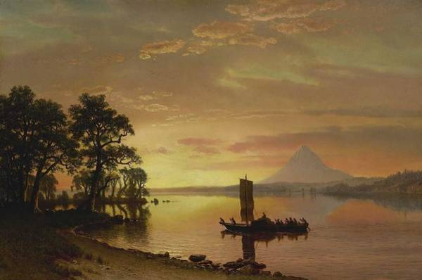 Wall Art - Painting - Albert Bierstadt  1830-1902  Indians Crossing The Columbia River - 1867 by Celestial Images