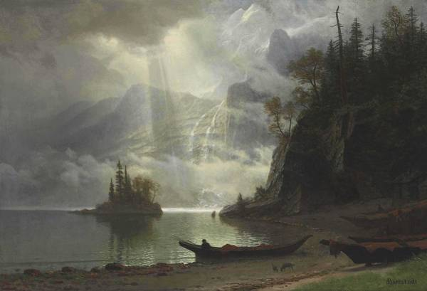 Wall Art - Painting - Albert Bierstadt  1830-1902  Island In The Lake by Celestial Images