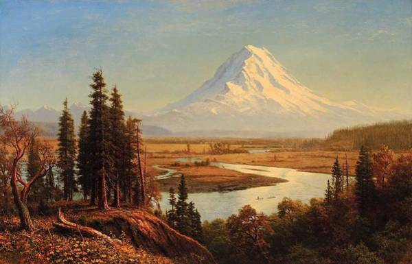 Wall Art - Painting - Albert Bierstadt  1830-1902  Mount Rainier - 1890 by Celestial Images