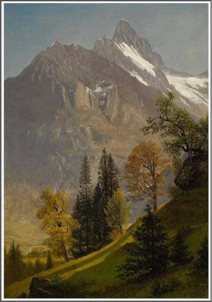 Wall Art - Painting - Albert Bierstadt  1830-1902  Mountain Landscape by Celestial Images